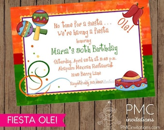 Fiesta or Mexican Theme Invitations - 1.00 each with envelope