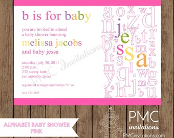 Custom Printed Pink Alphabet Baby Shower Invitations - 1.00 each with envelope