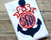 Machine Embroidery Design Applique Anchor Bow 2  INSTANT DOWNLOAD