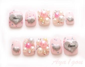 Short nails,  winter nails, yume kawaii, fake nails, 3D nail, pink nail, pretty nail, kawaii nail, cute nail, pearl, wedding, bridal nail