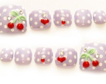 Nails, nail art, deco nails, pastel purple, polka dot, toe nails, cherry nail, 3D nails, pedicure, kawaii nail, acrylic nail, nail set