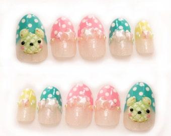 Melonpan, pop kei, fairy kei, pastel nails, 3D nails, false nails, press on nails, oval nails, polka dot nail, star nail, cute nails, ongles