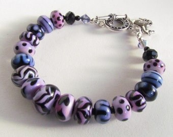 Lampwork Bracelet with Silver Horse Charm, Purple and Black, Equestrian Jewelry, Handmade by Harleypaws, SRAJD