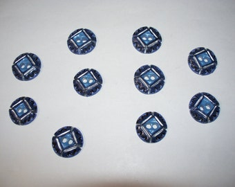 10 Large, Blue  Buttons,  Lot 2530 (Free US Shipping)