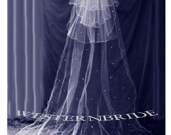 CATHEDRAL VEIL  with Rhinestone Crystals  3 tier fingertip veil.  white or ivory or off white choice of color
