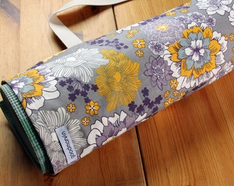 Yoga Bag, Pilates Mat Bag, Purple Yoga Bag, Purple, Gray, and Mustard Yellow Graphic Flowers - Made to Order