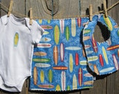 Surf's Up - Surfboard Baby Gift Set includes bib, burp cloth, baby bodysuit - available in size NB - 24months