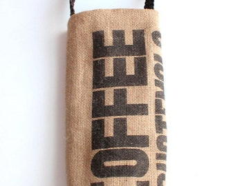Coffee Sack Wine Tote Upcycled Burlap - Coffee