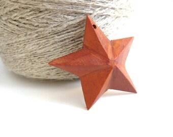 "Primitive star wood pendant 40mm (1 1/2"")"