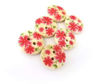 Small wooden buttons - Pink flowers pattern wooden shirt buttons 15mm - set of 6  (BB094)