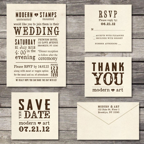 Stamps For Wedding Invitations: Wedding Invitation Stamp Suite Custom Wedding By