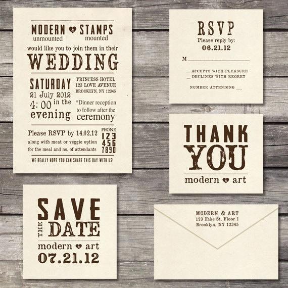 Wedding Invitation Rubber Stamps: Wedding Invitation Stamp Suite Custom Wedding By