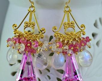 Pink Topaz Moonstone Pink Sapphire Chandelier Earrings Gemstone Cluster Earrings