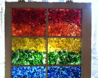 Glass on glass rainbow window mosaic