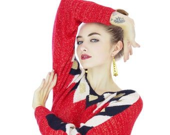 80s Metallic Holiday Sweater Red Black Gold Diamond Shapes 1980s Batwing Dolman Sleeves Harlequin Bedazzled Oversized Medium M