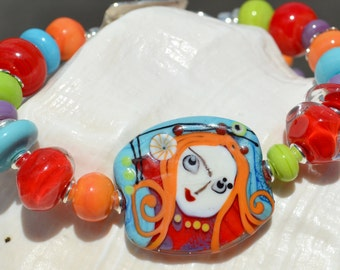 Reserve for Jan-FUN and FEISTY-Handmade Lampwork and Sterling Silver Bracelet