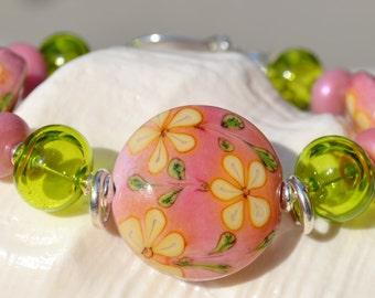 DELIGHTFUL-Handmade Lampwork and Sterling Silver Bracelet