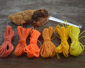 Citrus Punch Mix: Waxed Polyester Cord, 1mm, 6 packs of 25ft per color / Hilo Encerado, Waxed Poly, Macrame Thread / Jewelry Supplies