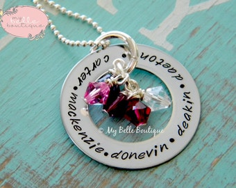 Personalized Hand Stamped Eternity Washer Necklace with Family Names and Swarovski Birthstones