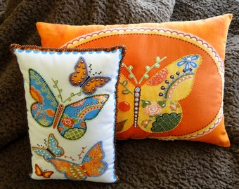 Set of 2 Yellow Orange and Blue Butterfly Beaded Art Pillows