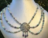 Sea Foam Freshwater Pearl Necklace and Earrings Set