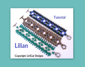 Lilian  Superduo Rulla Beadwork Bracelet PDF Tutorial