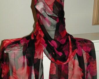 Silk Chiffon Fabric Scarf/Wrap/Shawl/Shrug..Bridal Wedding Gift..Exotic Red Rose/Dark Fuchsia/Magenta..Bridal/Wedding Gift..Matching Clutch
