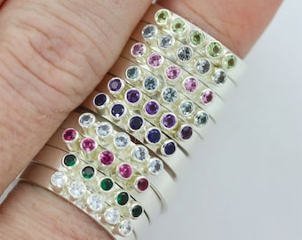 5 Stone Stacking Rings with Birthstone in Sterling Silver