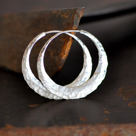 1 inch round sterling silver hoop earrings hammered, ball pein or your choice of texture, small endless style