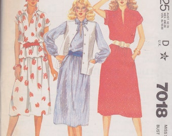 McCall's 7018 Misses' Vest, Blouse and Skirt Size 14 Vintage UNCUT Pattern Easy Pattern
