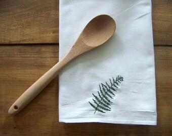 free shipping - embroidered fern tea towel - kitchen towel - embroidery - summer - botanical - plant - flour sack towel - gift idea -hostess