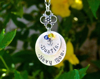 Navy Mom 2-Disc Stacked Necklace - Personalized Mom Jewelry, Military Mom Necklace, Navy Sister, Navy Grandma, Navy Girlfriend