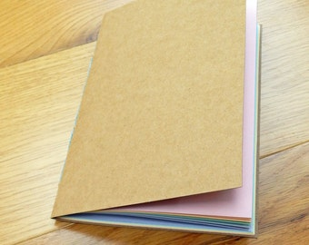 "Rainbow Pastel A5 (8""x6"") Journal Notebook, Natural Kraft Brown cover"