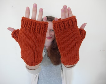 knitted FINGERLESS MITTENS / gloves warm classic / vegan