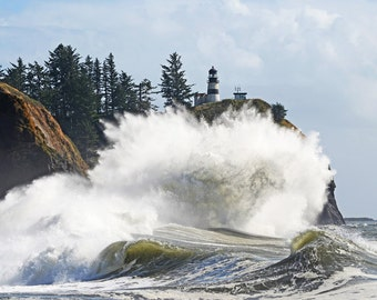 Lighthouse at Cape Disappointment Washington, Digital Photographic Print, 8x10