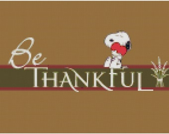 Peanuts Snoopy Be Thankful Counted Cross Stitch Pattern