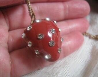 Vintage red enamel clear crystal strawberry pendant, happy red strawberry pendant and goldtone chain
