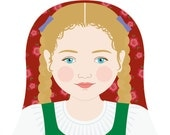 Austrian Girl Matryoshka Art Print, Kids Wall Art