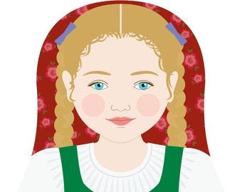 Austrian Wall Art Print featuring cultural traditional dress drawn in a Russian matryoshka nesting doll shape