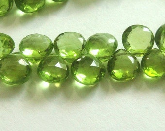 PERIDOT Heart Briolettes,  Faceted Brios, 4 Pcs, MATCHED PAIRS,  August Birthstone,  Brides, Wholesale Beads, 6-7mm,