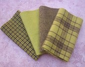 "Hand Dyed Wool Felt,  PEAR, Four 6.5"" x 16"" pieces in Green-Gold"