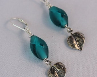 Teal Glass and Silver Leaves Earrings