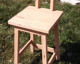 """Ready to Ship Reclaimed Rustic Oak Barn Wood 28"""" Bar Stool with a back -RROBS130F"""