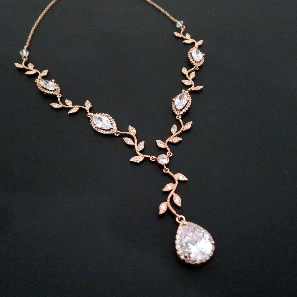 Bridal Necklace Rose Gold Necklace Rose Gold Bridal Jewelry
