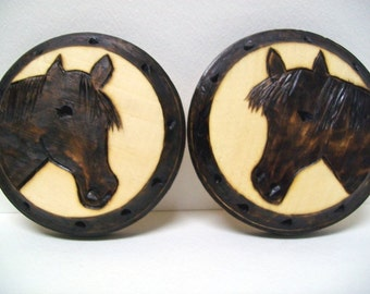 Folk Art Horse, Wood Plaques, Set of 2, Woodburned Wall Hanging, Pony Pyrography, Brown Silhouette, Farm Ranch Animal, Home Decor