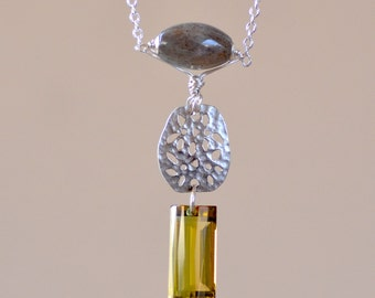 Ametrine  Necklace. Luxury Rare Large Bolivian Ametrine Silver Necklace. Lemon - Green Necklace. Bicolor Ametrine Labradorite. Fine Jewelry.