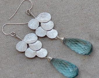 Blue Quartz Earrings. Sky Blue Large Silver Teardrops Earrings. Luxury Gemstone Briolette Earrings. Fine Jewelry.