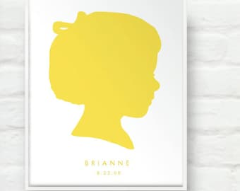 Mothers Day Custom Silhouette Portrait on White 8x10 Print - Personalized Child Girl or Boy Children Name Art for Nursery or Kids Room