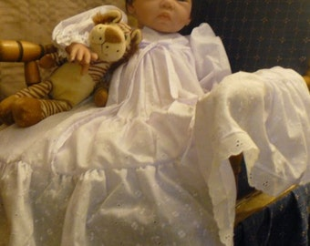 Long sleeve eyelet lace baptism, christening gown