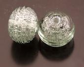Lampwork Beads Steel Grey Pixie Dust Ribbed Earring Pair Handmade Heather Behrendt BHV SRA LETeam